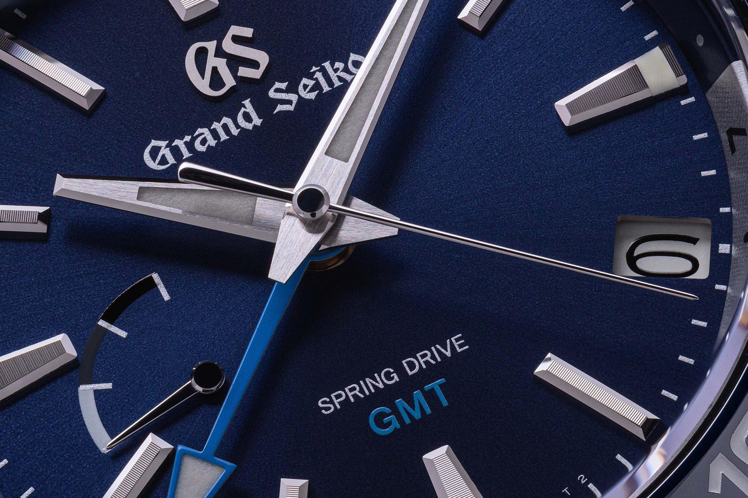 Macro detail of blue dial of Grand Seiko SBGE257.