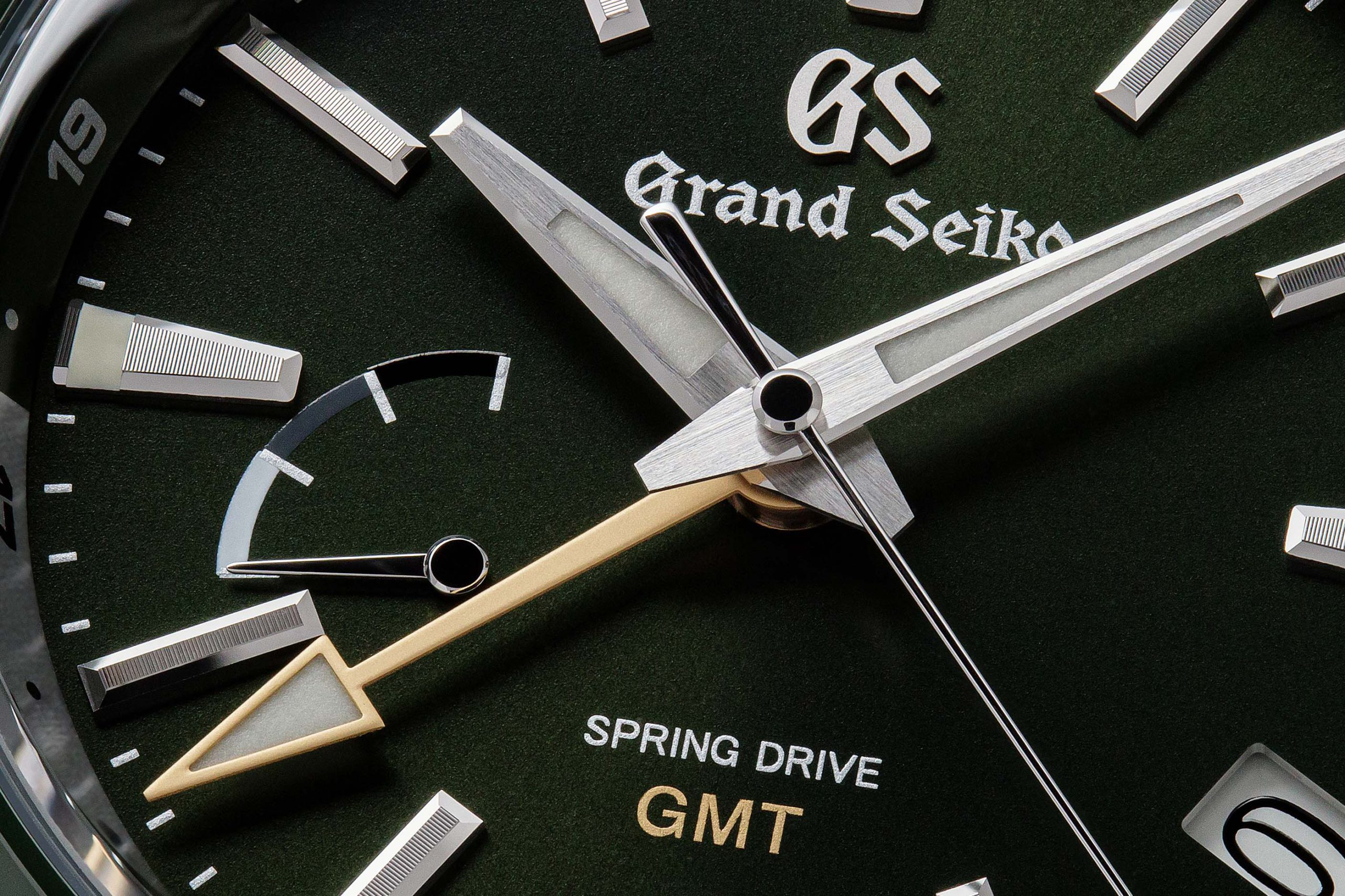 Macro detail of green dial of Grand Seiko SBGE257.