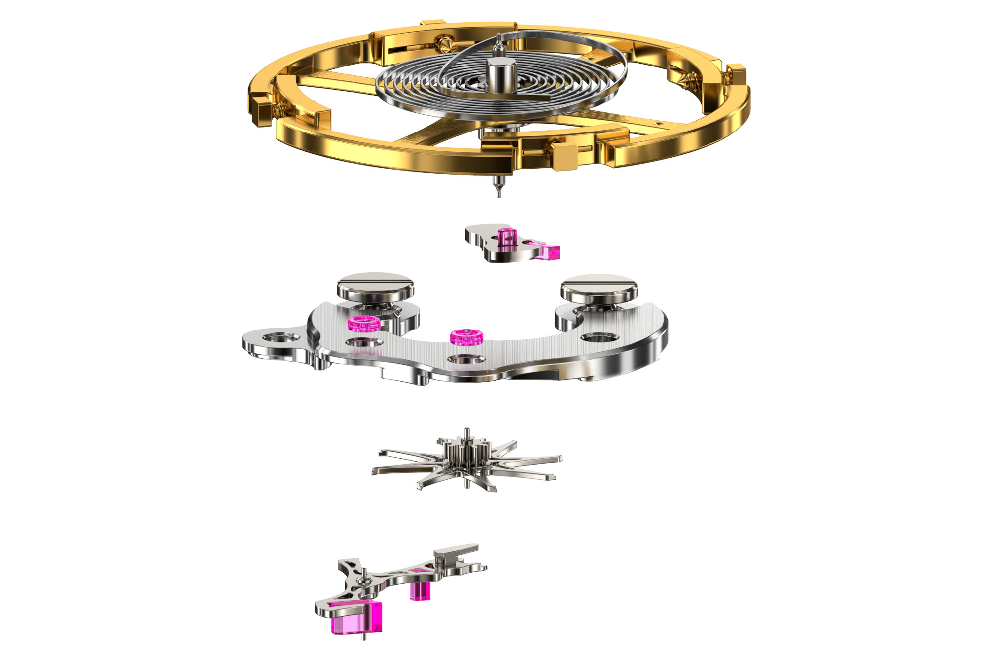 Exploded view of the Grand Seiko Dual Pulse Escapement.