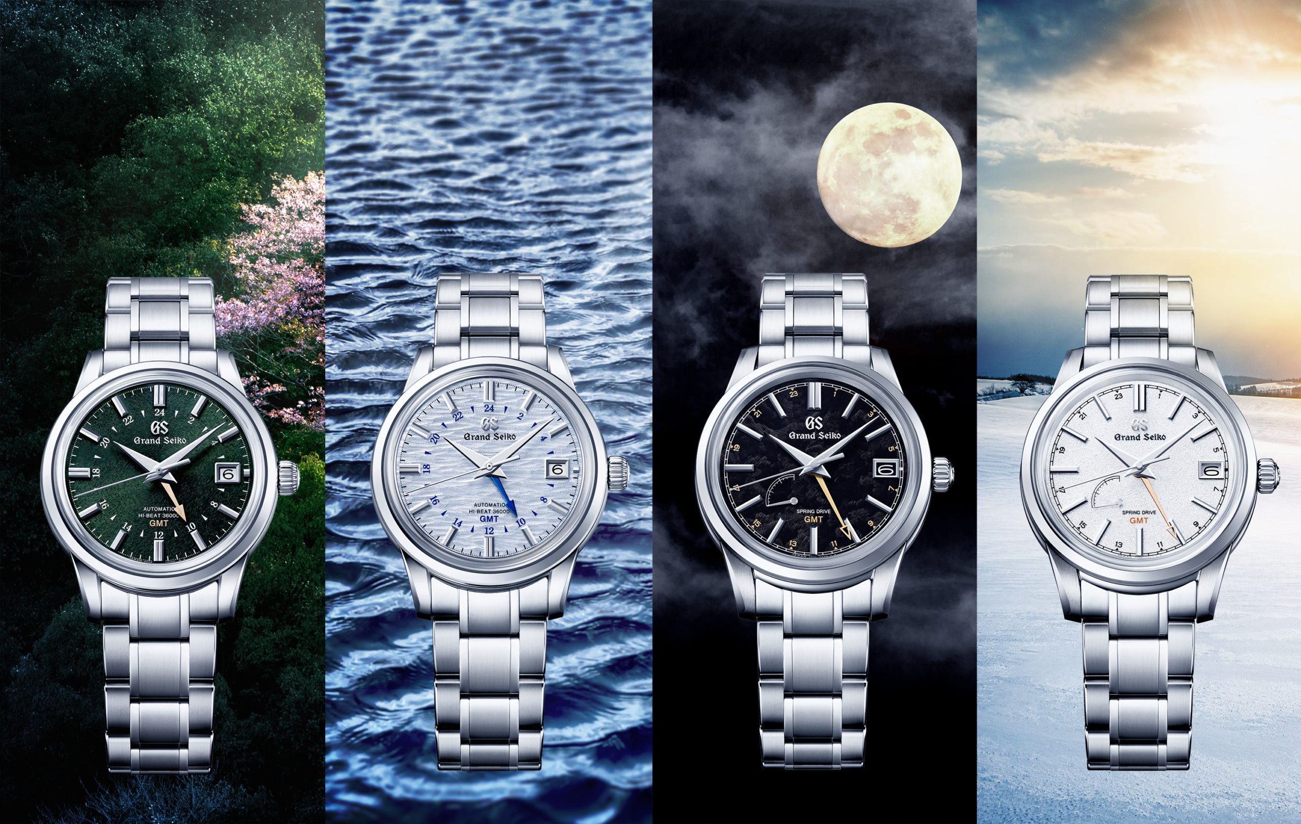 All four Grand Seiko Japan Seasons watches on seasonal backgrounds.