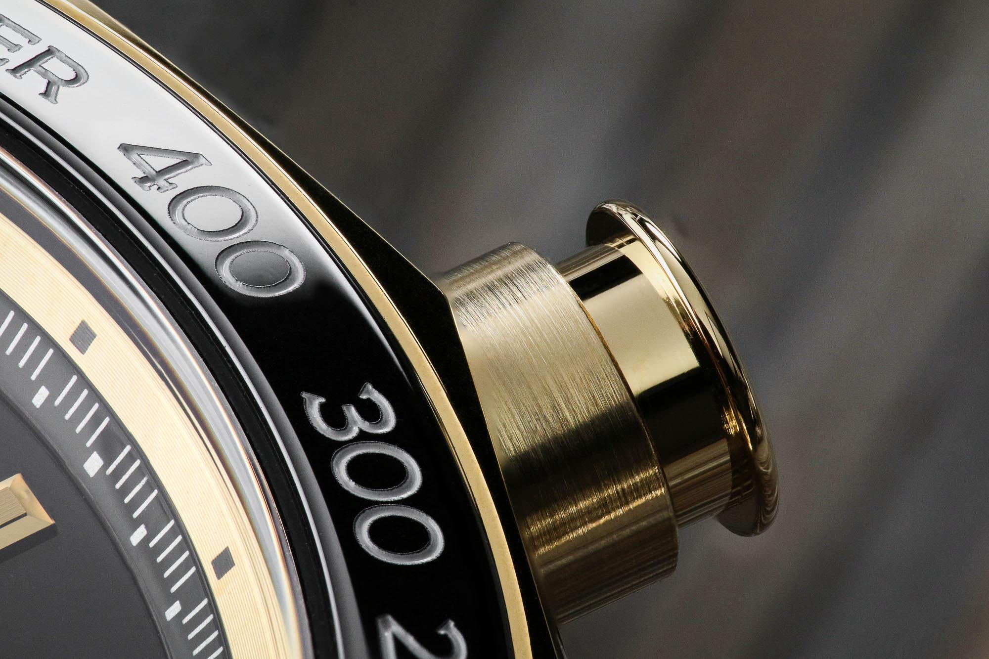 Macro detail of chronograph pusher SBGC240