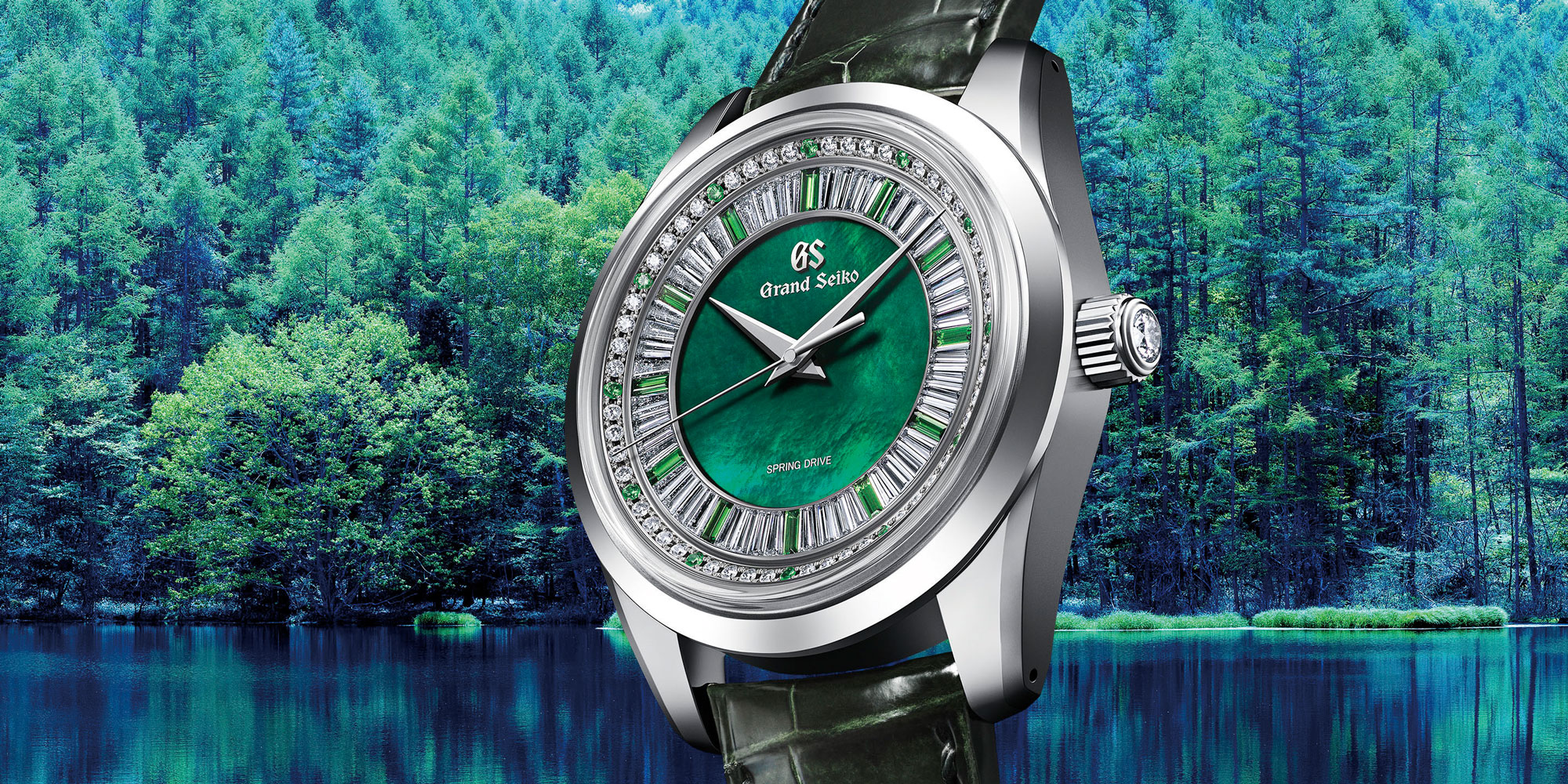 Grand Seiko SBGD207 against forest backdrop