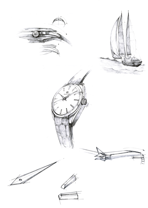 Early sketches of Grand Seiko Elegance design.