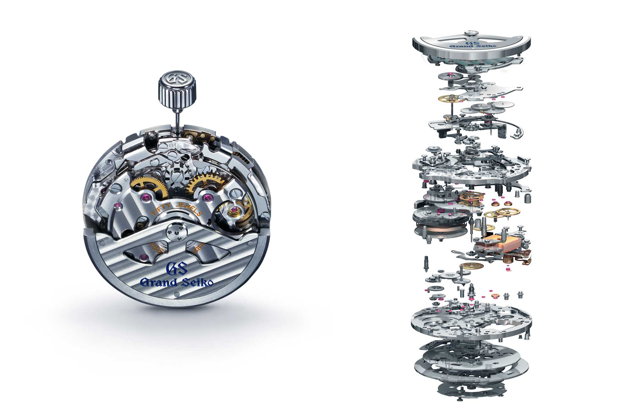 Grand Seiko caliber 9R86 alongside an exploded view of the movement.