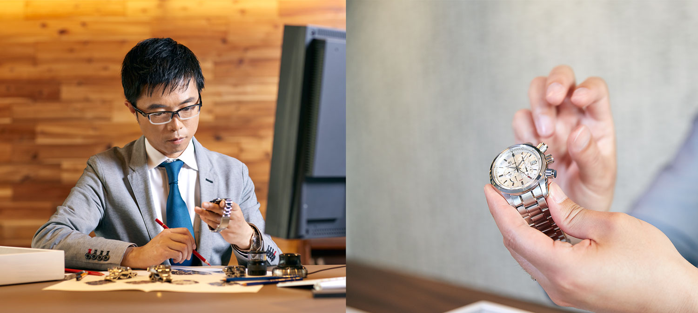 Watch designer Kubo looking at Grand Seiko SBGC201 chronograph.