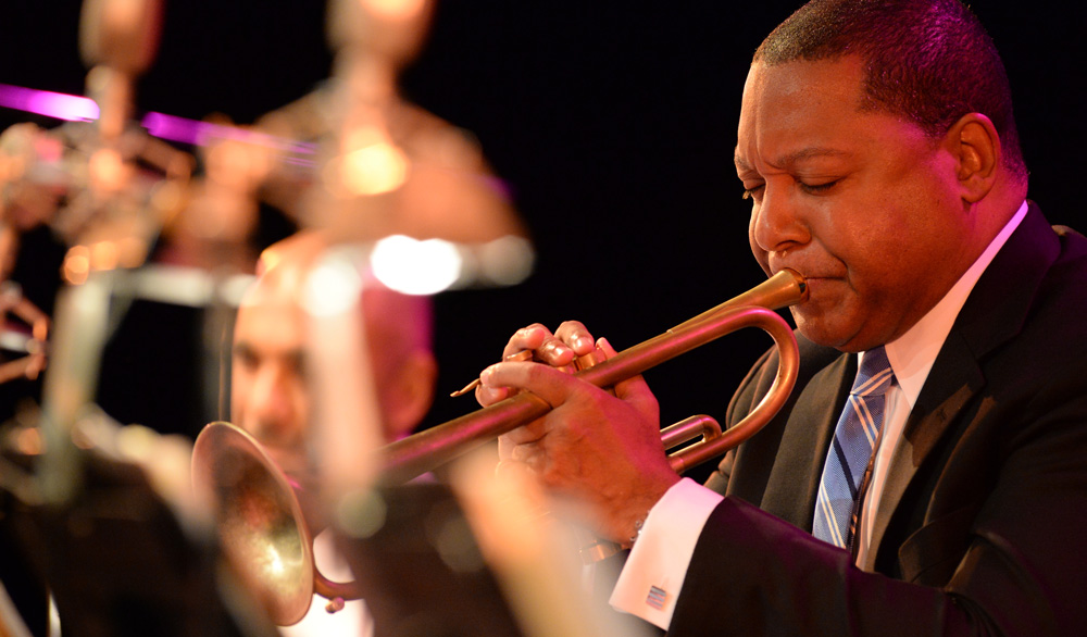 Wynton Marsalis playing a trumpet.