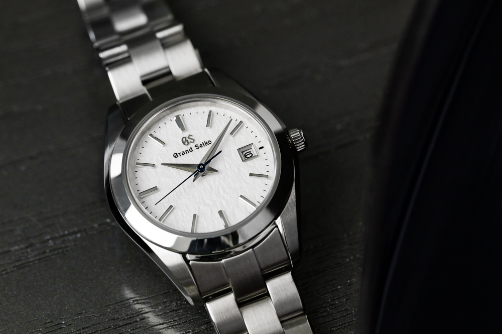 Grand Seiko STGF359 close up of stainless steel case