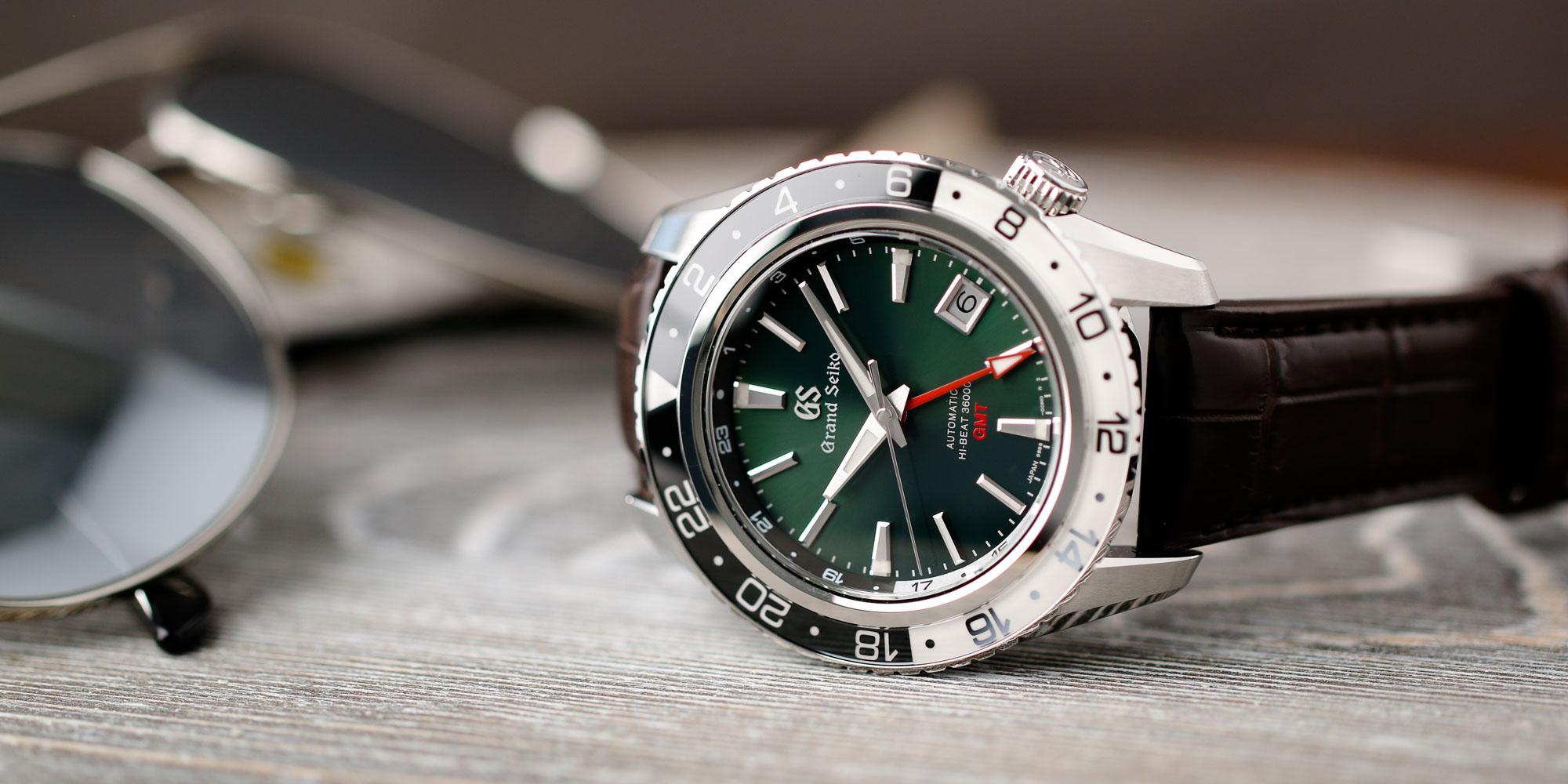 Grand Seiko SBGJ239 Hi-Beat GMT green-dial men's timepiece