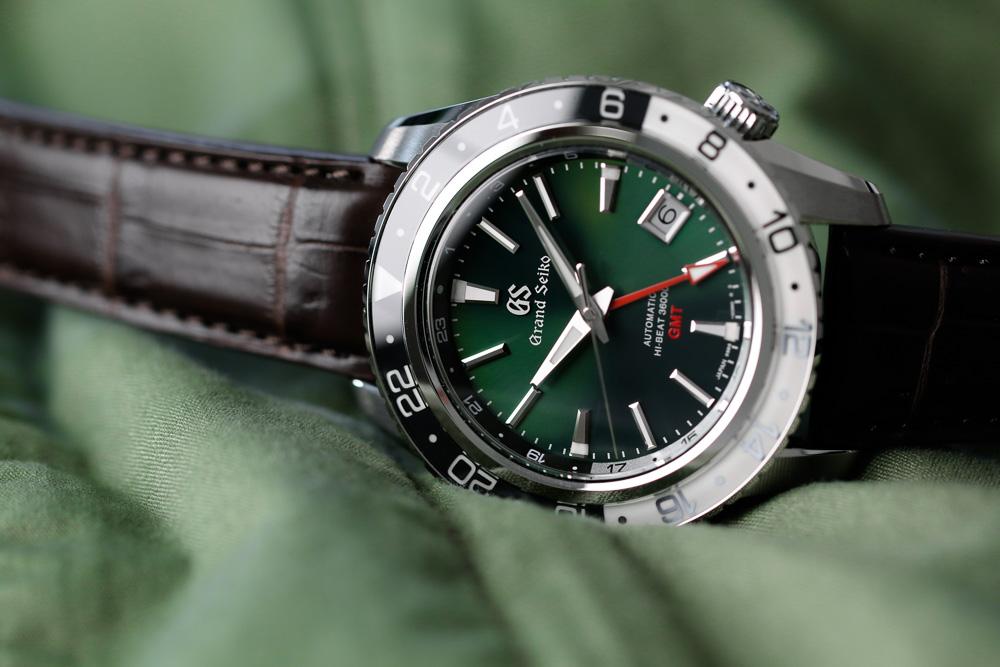 Grand Seiko SBGJ239 Hi-Beat GMT green-dial men's wristwatch