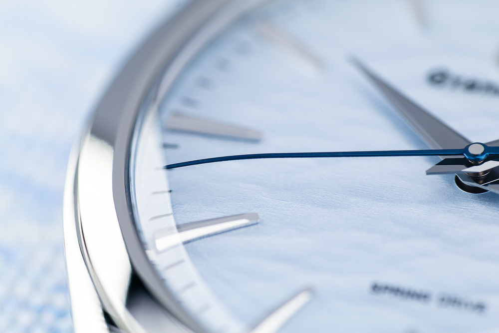 Grand Seiko SBGY007 Omiwatari blue dial detail men's wristwatch