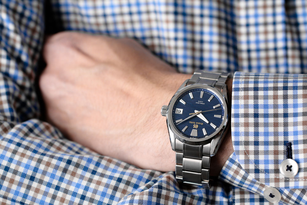 Grand Seiko SLGA007 watch worn on a wrist.