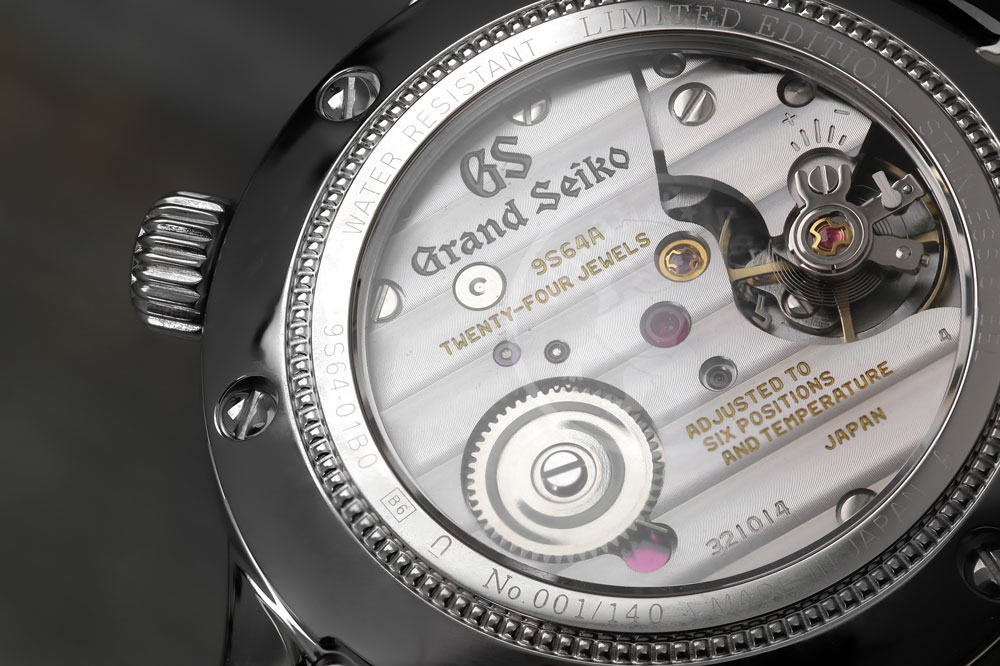 Grand Seiko 9S64 mechanical movement through case back.