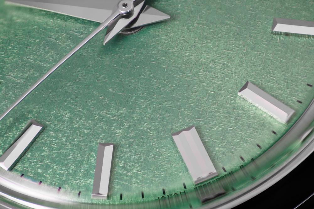 Dial texture (kirazuri) of Grand Seiko SBGW277 watch.