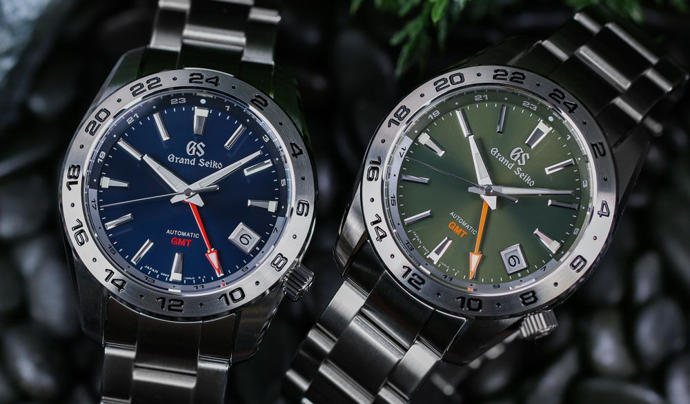 Grand Seiko SBGM245 SBGM247 blue and green-dialed GMT watches