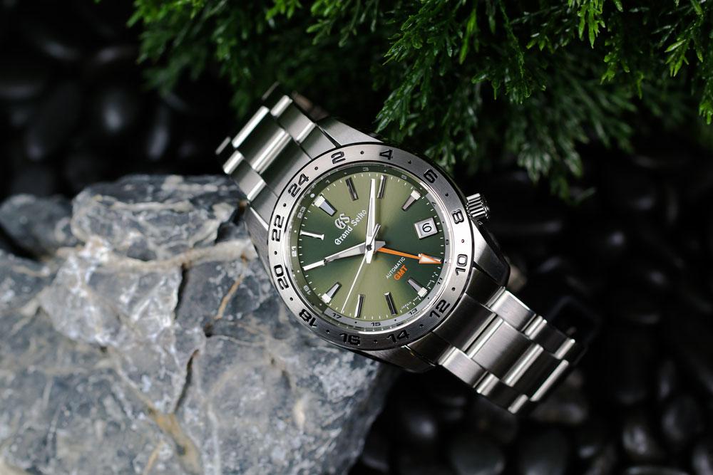 Grand Seiko SBGM247 green-dialed GMT watch